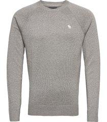 icon crew stickad tröja m. rund krage grå abercrombie & fitch