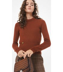mk pullover in cashmere con monogramma - ramato (rosso) - michael kors