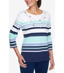 alfred dunner petite striped necklace top