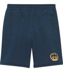 gucci blue bermuda shorts with logo