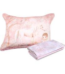 jogo de cama 3pçs kacyumara vida bela fantasy rosa