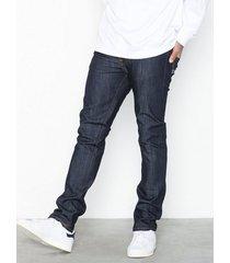 nudie jeans thin finn dry ecru embo jeans denim blå