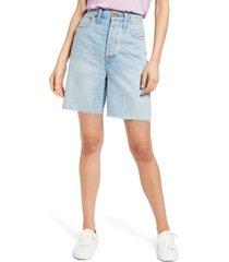 women's madewell baggy raw hem denim bermuda shorts, size 23 - blue