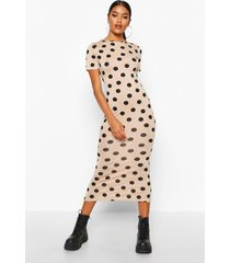 spot crew neck midaxi dress, stone