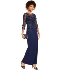 adrianna papell sequined illusion-yoke column gown