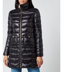 herno women's maria iconic long quilted fitted coat - nero - it 44/ uk 12