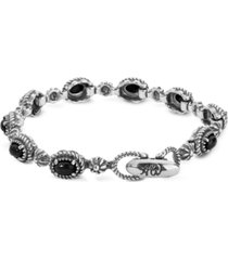 american west black agate tennis bracelet in sterling silver