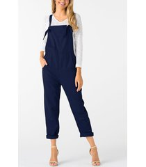 navy square neck sleeveless overall outfits