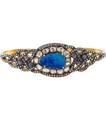 gemco 18kt gold, diamond, opal & sapphire hand bracelet - metallic