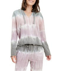 women's splendid beam tie dye cotton blend hoodie, size large - coral