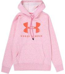 buzo rosado under armour ua rival fleece logo hoodie