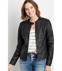 maurices womens black basic faux leather jacket