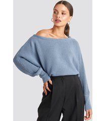 na-kd off shoulder knitted sweater - blue