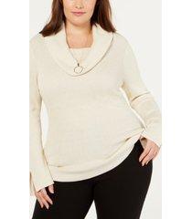 belldini plus size metallic cowlneck sweater