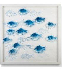 school of fish hand-painted wall art - pine wood/ps/canvas/plexiglas/metal