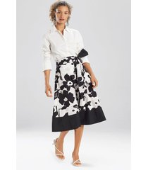natori anemone garden button down skirt, women's, black, cotton, size m natori