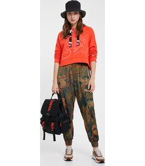 long floral cargo trousers - green - xl