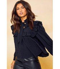 blouse met hoge kraag en strik