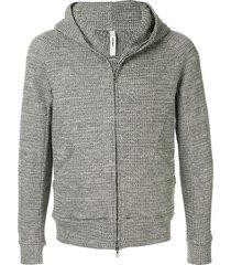 attachment textured flannel hoodie - grey