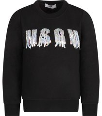 msgm black girl sweatshirt with sequined logo