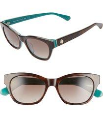 women's kate spade new york jerris 50mm cat eye sunglasses - havana/ blue