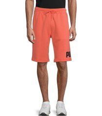puma men's big fleece logo shorts - pink - size m