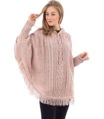 poncho de tricô com franja e capuz sumaré 31175 rosa