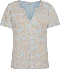 crluna printed t-shirt blouses short-sleeved blå cream
