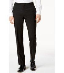 dkny men's slim-fit black tuxedo suit pants