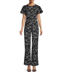 calvin klein women's belted floral jumpsuit - black white - size 4
