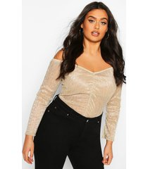 plus metallic plisse off the shoulder top, gold