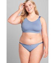 lane bryant women's cotton double string bikini panty 26/28 country blue dots