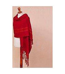 alpaca blend shawl, 'comfort road in red' (peru)