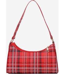 plaid pattern rectangle pu shoulder bag