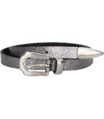 cinturón cuero básico puntera metálica plateado
