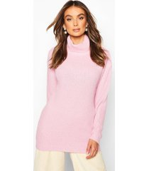 fisherman roll neck sweater, pastel pink