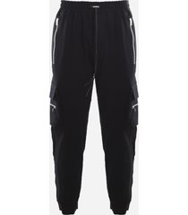 represent black cotton trousers with all-over zip