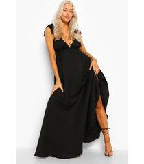 maxi jurk met laag decolleté en schouderstrikjes, black