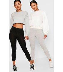 basic driekwarts leggings met hoge taille (2 stuks), grijs
