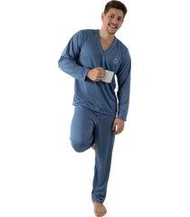pijama linha noite longo azul acinzentado