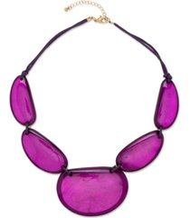 "style & co gold-tone colored statement necklace, 21-1/2"" + 3"" extender, created for macy's"