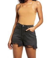 women's bp. picot trim cotton blend rib bodysuit, size x-large - brown