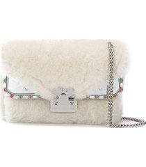 fendi bag bugs goat-fur shoulder bag - white