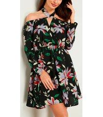halter con hombros descubiertos y estampado floral negro vestido
