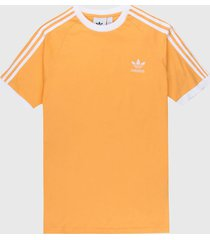 camiseta naranja-blanco adidas originals 3 stripes