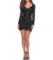 women's la femme long sleeve sequin cocktail dress, size 6 - black