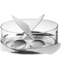 saladeira sava baixa prata com par de talheres riva