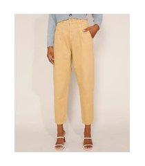 calça de sarja feminina cintura alta sawary baggy com pences bege
