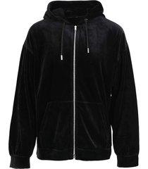 zipped sweatshirt hoodie, black