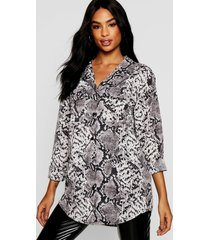 oversized slangenprint blouse, grijs
